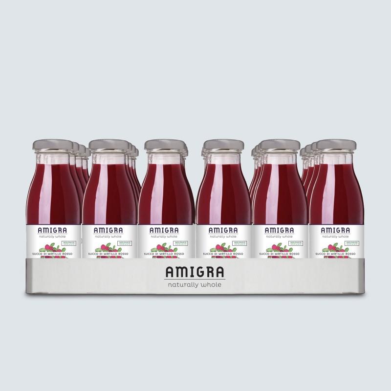 100% Succo di Mirtillo Rosso BIO 250ml - 24pz